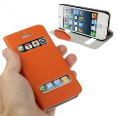 Funda iPhone 5 S-View Cuero Naranja