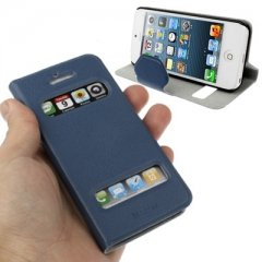 Funda iPhone 5 S-View Cuero Azul