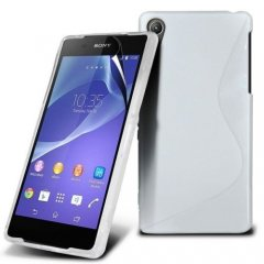 Funda Gel Xperia Z2 Wave Blanca