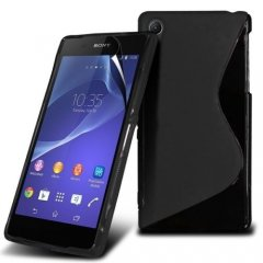 Funda Gel Xperia Z2 Wave Negra