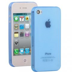 Funda iPhone 4S Gel Extra Fina 0,3mm Anti Huella Azul