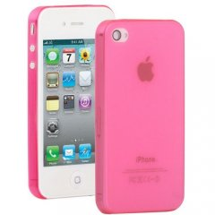 Funda iPhone 4S Gel Extra Fina 0,3mm Anti Huella Rosa