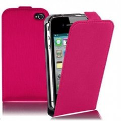 Funda iPhone 4S Cuero Fucsia Slim