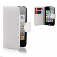 Funda iPhone 4S Cuero Cartera Blanca
