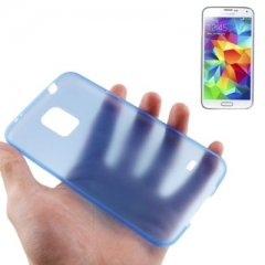 Funda Samsung Galaxy S5 Mini Gel Extra Fina 0,3mm Anti Huella Azul