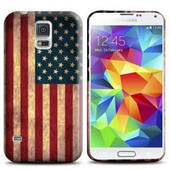 Funda Samsung Galaxy S5 Mini Bandera USA Retro