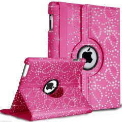 Funda Ipad 2 ,3 ,4 360º Cuero Diamantes Rosa
