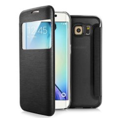 Funda Samsung Galaxy S6 Edge S-View Cuero Negra