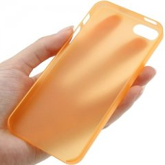 Funda iPhone 5 Gel Extra Fina 0,3mm Anti Huella Naranja