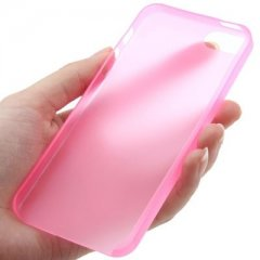 Funda iPhone 5 Gel Extra Fina 0,3mm Anti Huella Rosa