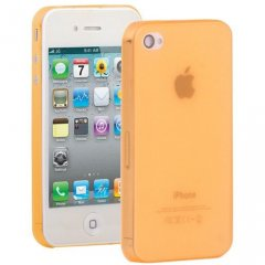Funda iPhone 4 Gel Extra Fina 0,3mm Anti Huella Naranja