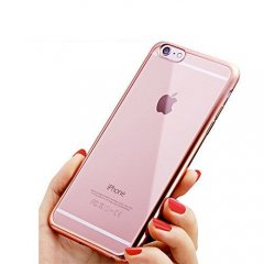 Funda Iphone 7 Gel Blanda con marco Cromado Rosa