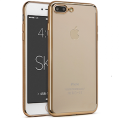 Funda Iphone 7 Plus Gel Blanda con marco Cromado ORO