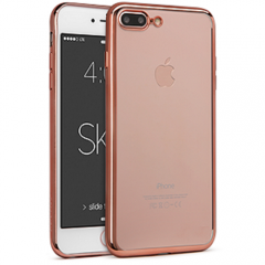 Funda Iphone 7 Plus Gel Blanda con marco Cromado Rosa