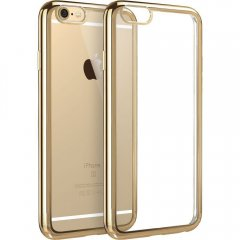 Funda Iphone 6 Gel Blanda con marco Cromado ORO