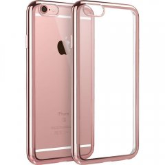Funda Iphone 6 Gel Blanda con marco Cromado Rosa
