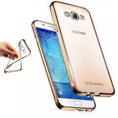 Funda Galaxy J1 2016 Gel Flexible con marco cromado Dorada