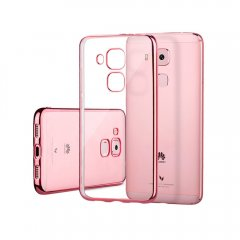 Funda Huawei Nova Plus Gel Flexible con marco cromado Rosa