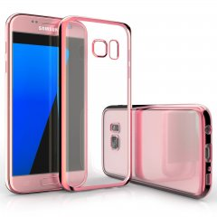 Funda Galaxy S7 Gel Flexible con marco cromado Rosa