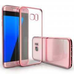 Funda Galaxy S7 Edge Gel Flexible con marco cromado Rosa