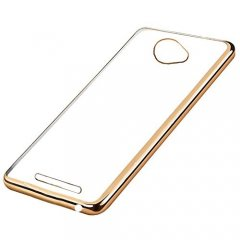 Funda BQ Aquaris U Gel Flexible con marco cromado Dorado