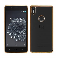 Funda BQ Aquaris X5 Plus Gel Flexible con marco cromado Dorado