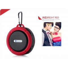Altavoz Bluetooth Estereo Recargable Wateproof Rojo