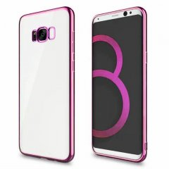 Funda Galaxy S8 Gel Flexible con marco cromado Rosa
