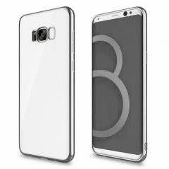 Funda Galaxy S8 Gel Flexible con marco cromado Plateado