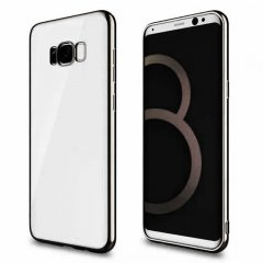 Funda Galaxy S8 Gel Flexible con marco cromado Negro
