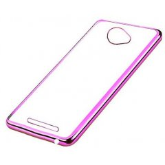 Funda BQ Aquaris U Gel Flexible con marco cromado Rosa