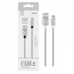 Cable de Datos iPhone Lightning 2A 1Metro Plata