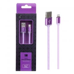 Cable de Datos iPhone Lightning Metal 2A 1Metro Violeta