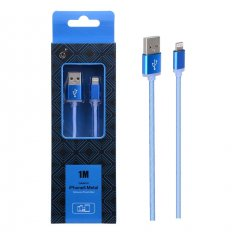 Cable de Datos iPhone Lightning Metal 2A 1Metro Azul