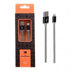 Cable de Datos iPhone Lightning Metal 2A 1Metro Naranja