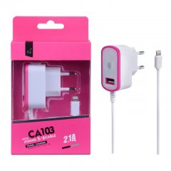 Cargador de red 220v 2.1A real Smartphones y Tablets Rosa