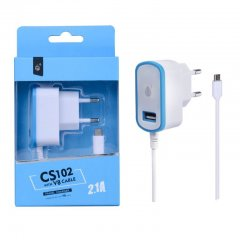 Cargador de red 220v 2.1A real Smartphones y Tablets Azul