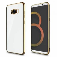Funda Galaxy S8 Plus Gel Flexible con marco cromado Dorado