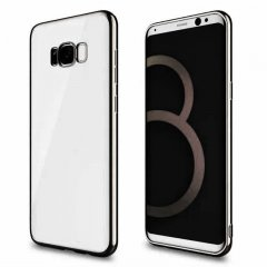 Funda Galaxy S8 Plus Gel Flexible con marco cromado Negro