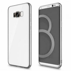 Funda Galaxy S8 Plus Gel Flexible con marco cromado Plateado
