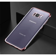 Funda Galaxy S8 Plus Gel con Bordes Cromada Rosada