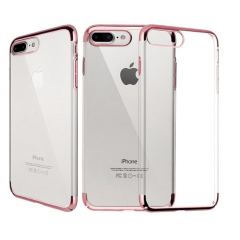 Funda iPhone 7 Plus Gel con Bordes Cromado Oro Rosa