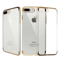 Funda iPhone 7 Plus Gel con Bordes Cromado Oro