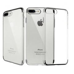 Funda iPhone 7 Plus Gel con Bordes Cromado Plata