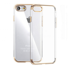 Funda iPhone 7 Gel con Bordes Cromado Oro
