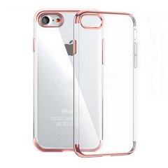 Funda iPhone 6 Plus Gel con Bordes Cromado Rosado