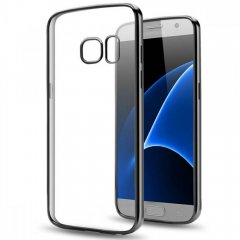 Funda Galaxy S7 Gel Flexible con marco cromado Negro