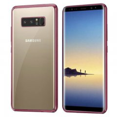 Funda Galaxy Note 8 Gel Flexible con marco cromado Rosa