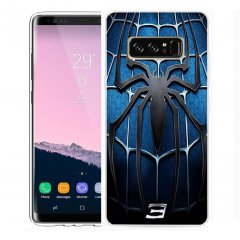 Funda Samsung Galaxy Note 8 Gel Dibujo Spider Azul
