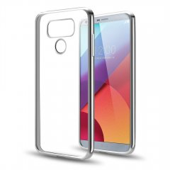 Funda LG G6 Gel Flexible con marco cromado Gris